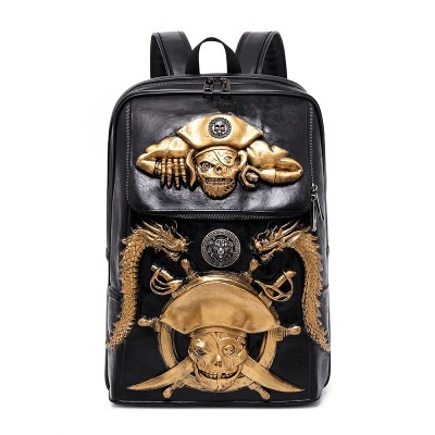 3D Pirat PU Leather Backpack Fashion Men Backpack School Big Laptop Bags Gothic Steampunk Unique backpack cool bag steampunk fashion Travel Bags Girls Vintage Rivets Halloween Bags