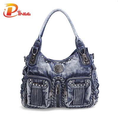 Vintage Denim Shoulder Handbags 2017 Fashion Women Bag Denim Handbag  Blue Shoulder Bag Women Denim Purses Handbags