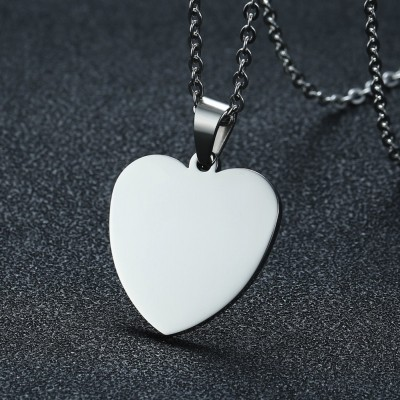 Engravable Heart Tag Pendant in Stainless Steel Necklace with 20 or 24 Inch