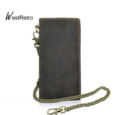 Retro Motorcycle Punk Biker Simple Bifold Long Leather Wallet with Chain For Men