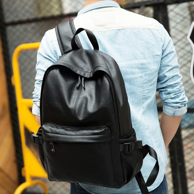 Wholesale Man Backpack 2019 Men Bags Leather Shoulder Bag Black Casual Travel Backpacks Waterproof Big Mochilas