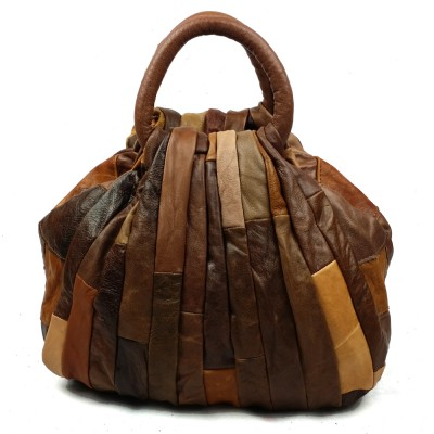 Hot Luxury Vintage Patchwork 100% Genuine Leather Tote Bag Women Shell Bags Top-Handle Bag Women Leather Handbag Tote Brown