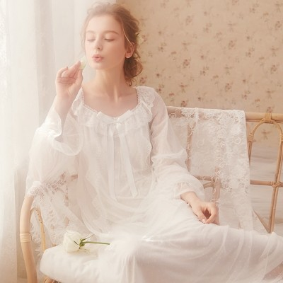 Nightgown Woman Long Dress Sexy Lace Sleepwear Fairy Women Princess Lace Long Sleeve Bride Bridesmaid Night Gowns Party