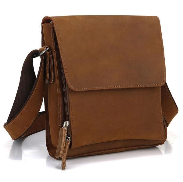 89c6802a40 ... Vintage Crazy Horse Leather Weekend Bag Genuine Leather Men s Messenger  Bags Brown Cowhide Man Shoulder Crossbody Bag  MD-J7055. Image 1