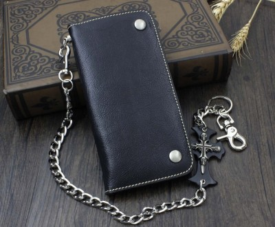 Mens Genuine Leather Motorcycle Trucker Biker Wallet With Skull Pants Chain