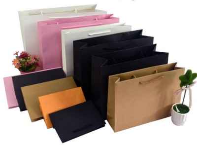 Wholesale 500pcslot Custom Company Logo Many Sizes to Choose Black paper bagsshopping bagsclothesjewellery bags for ads