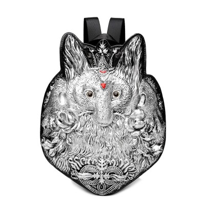 Gothic Steampunk Unique backpack cool bag steampunk fashion 3D Princess Rabbit PU Backpacks Fashion Street Rock Punk Animal Leather Bags Black Silver Golden for Girls Ladies Women