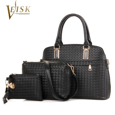 Womens Bags Brand 2019 Women Composite Bags PU Leather Weave Shell Top-Handle Bag Set for 3 Pieces Luxury Women's Handbags