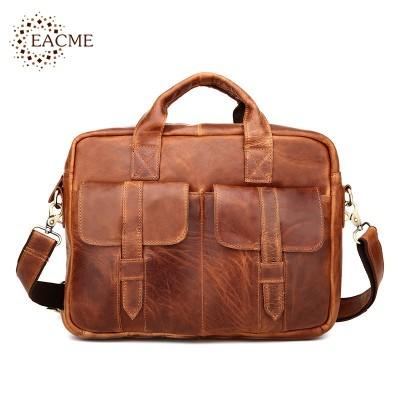 Old Fashion Business Handbag Men's Briefcase Crazy Horse Leather Messenger Bag Crossbody Bags Men Shoulder Bag Male Mochila 2017