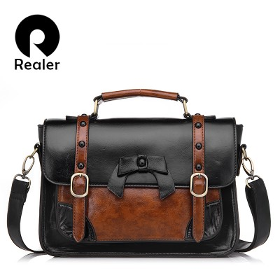 REALER brand designer satchel handbags women messenger bags high quality PU leather tote bag casual patchwork shoulder bag