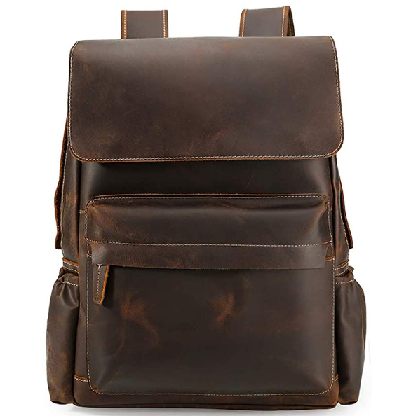 Cool Retro 15.6 Inch Mens Genuine Cowhide Leather Laptop Backpack Large Capacity Travel Bag Schoolbag Bookbag Daypack