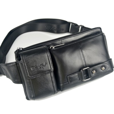 Leather Fanny Pack Fashion genuine leather cowhide small waist bags for men mans belt wallets Black Dark Brown male fanny bags