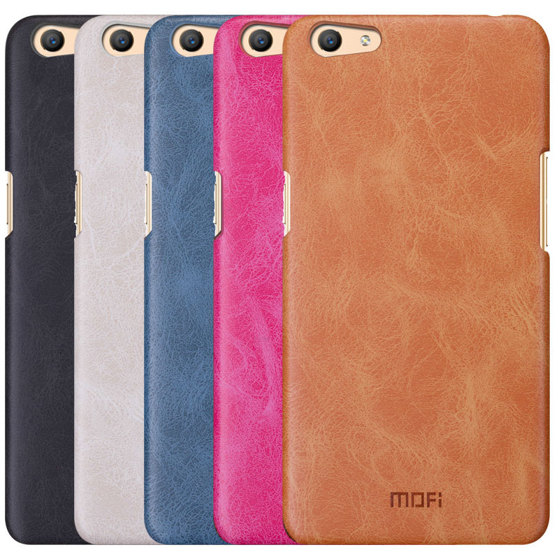 reputable site 613ad 714bd OPPO f1s case MOFi original leather back case f1s hard case back cover oppo  a59 pure pink brown coque housing business 5.5 inch