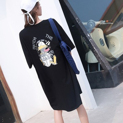 2019 women summer dress cartoon print short-sleeved T-shirt dresses loose home casual dress streetwear nightdress sleepshirts