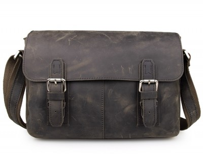 High Quality Vintage Crazy Horse Leather Men's Messenger Bag Cross body Sling Bag