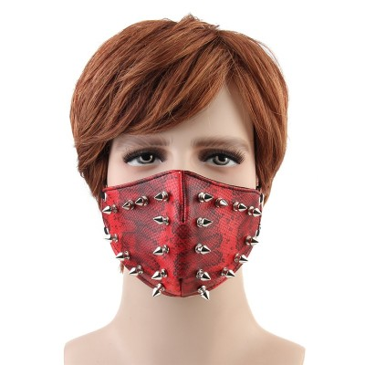 Punk Spikes Rivets Mask Rock Hip-hop Party Bar Stage Show Masks Outdoor Motorcycle Dustproof Men Women PU Half Face Masks