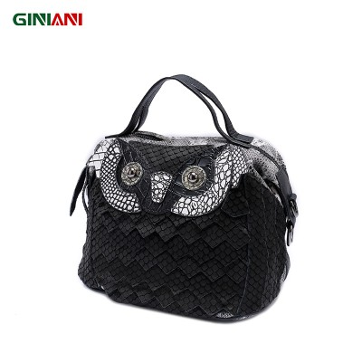 GINIANI Genuine Cow Leather Women's High Quality Serpentine Small Handbag Ladies Carton Animal Owl Little Shoulder Bags