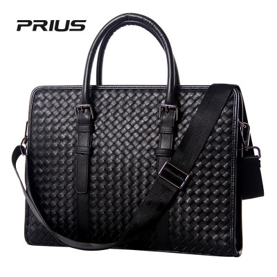 2019 Genuine Leather Handmade Weave Men Messenger Bags Retro High Quality Male Business Laptop Briefcase Handbag Totes