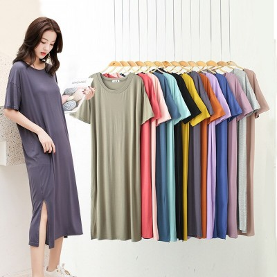 Modal pregnant women nightdress summer short sleeve loose sexy dress gecelik outfit sleep dress sleepwear nuisette nightgown