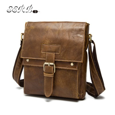 New Fashion Men's Genuine Crazy Horse Leather Messenger Bag Crossbody Shoulder Bag For Men Business Fashion Casual Travel Bags