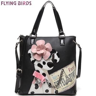 FLYING BIRDS fashion women leather handbag designer women handbag famour brands shoulder bags bolsas tote painting bag LM3199fb