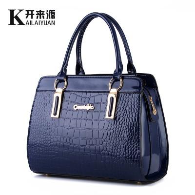 100% Genuine leather Women handbags 2017 new bright leather female bag stone high-end western style atmosphere Shoulder Handbag
