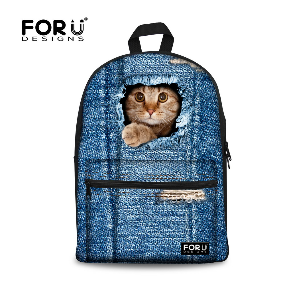 7db2157131e9 Preppy Style Backpack for Teenagers Girls Animal Cute Cat Printing ...