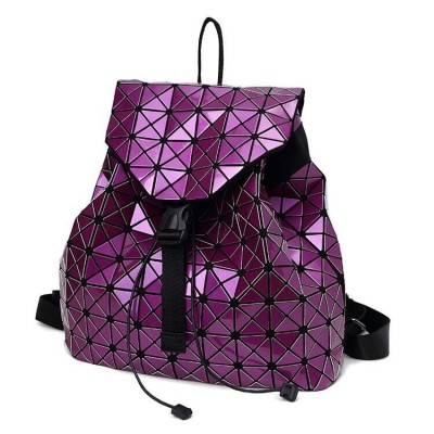 Women backpack 2019 geometric patchwork diamond lattice backpack famous brand drawstring bag mochila sac a dos 7 Colors DF411