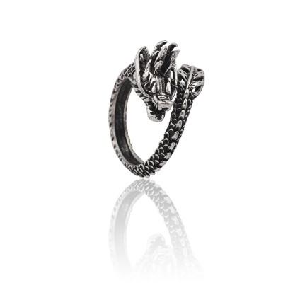 Vintage Animal Ring Men Gothic Punk Chinese Dragon Rings For Women Hip Hop Silver Biker Men Cool Adjustable Finger Ring Anillos
