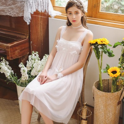 Woman Sleepwear Nightdress Summer Sleeveless Square Collar Nightgown Sweet Princess Nightgowns Sleepwear Lace Leisure