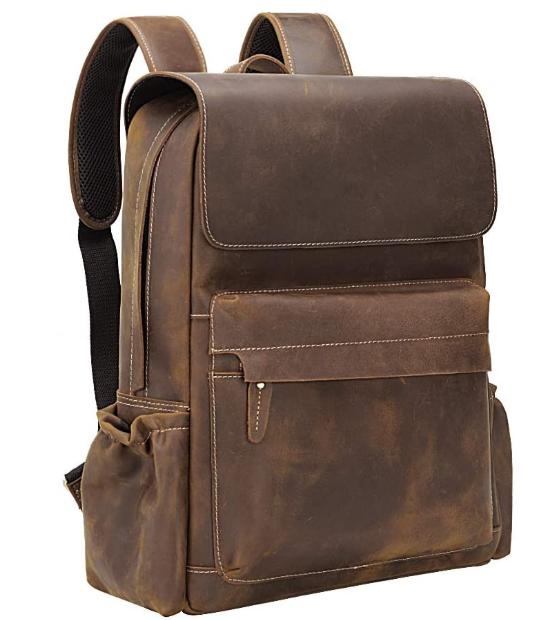 Cool Retro 15.6 Inch Genuine Cowhide Leather Laptop Backpack Large Capacity Travel Bag Schoolbag Bookbag Daypack for Men