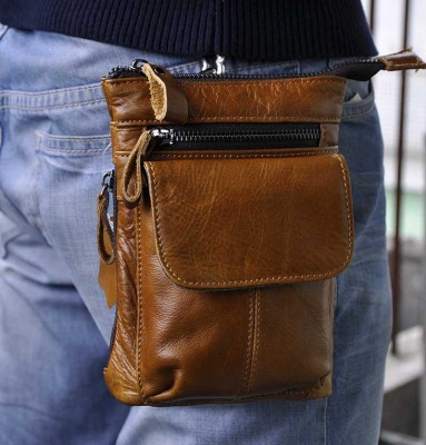 Leather Fanny Pack Genuine Leather Cowhide men waist pack bag phone bag small messenger bag fanny belt bag