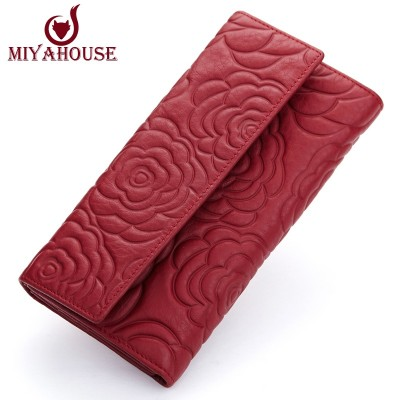 Miyahouse Fashion Coin Purse Floral Women Wallet Long Design Lady Hasp Clutch Wallet Genuine Leather Female Card Holder Wallets