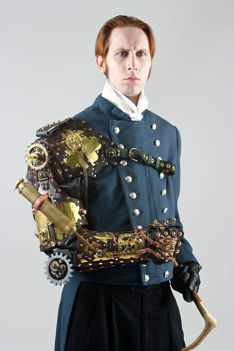 what is Steampunk:author-g.-d.-falksen-wearing-a-steampunk-styled-arm-prosthesis-created-by-thomas-willeford-exemplifying-one-take-on-steampunk-fashion