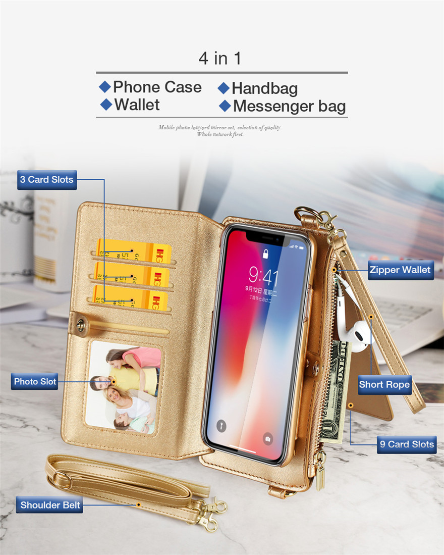 Golden Purse and Phone Case Bag Multi-function Phone case Messenger Bag for Iphone 6/6s/6 plus/6s plus/7 plus/8 plus/ 7/8/x Samsung s8/s8 plus Cell Phone Bag with Shoulder Strap Small Phone Bag Cell Phone Pouch Purse Purse with Phone Holder