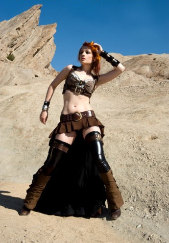 what is Steampunk:model-ulorin-vex-wearing-post-apocalyptic-steampunk-attire-designed-by-kato