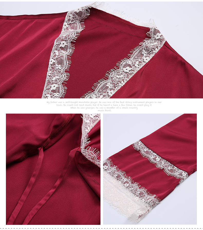 Red palace pajamas female spring and autumn ice silk robe nightdress two-piece princess sexy wedding suit