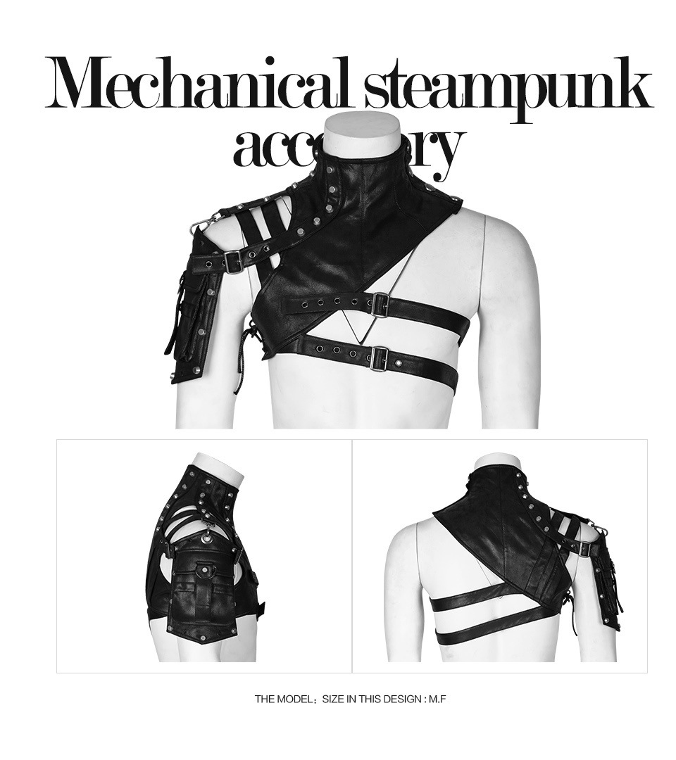 Original Steampunk Shoulder Armor Arm Bag Leather Armor Costume Steampunk Clothing Accessories