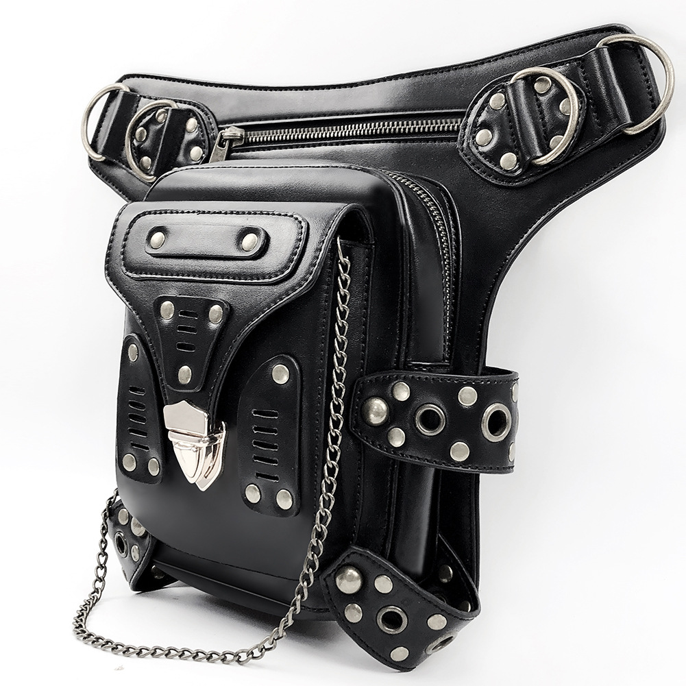 Original Bags Multifunctional Steampunk Thigh Waist Belt Bag Vintage Leather Steampunk Shoulder Crossbody Bag