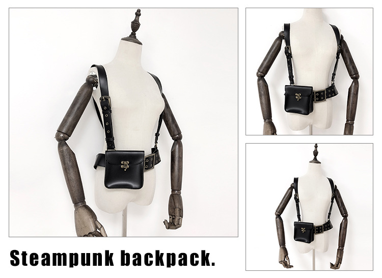 Original Steampunk Backpack Waist Belt Bag Steampunk Clothing Accessories Black