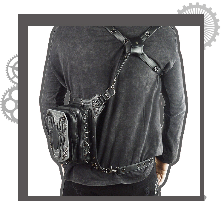 SteelMaster Steampunk Messenger Bag Black Spider Waist Belt Bag Women Men Gothic Steampunk Style Fashion Fanny Pack Shoulder Leg Bag Holster Bag