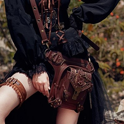 2019 new Women Men Waist bag multi-function female shoulder Steampunk retro slanting single Men women PU leather pockets bags