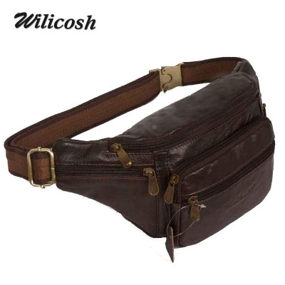 2015 new style!genuine leather men's multifunction travel bags funny chest pack men waist pack hiqh quality men waist bag DB4010
