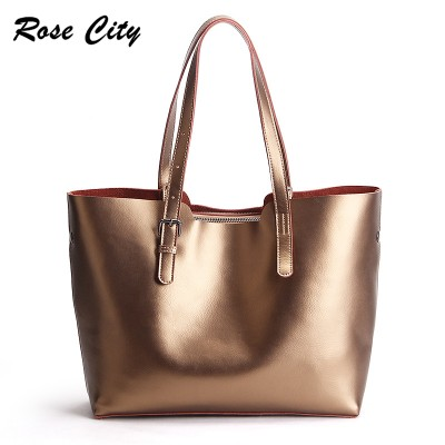 Winter Large Pearl Grain Genuine Leather Tote Bags For Women New Casual Shopper Bag Designer Handbags High Quality Shoulder Bags