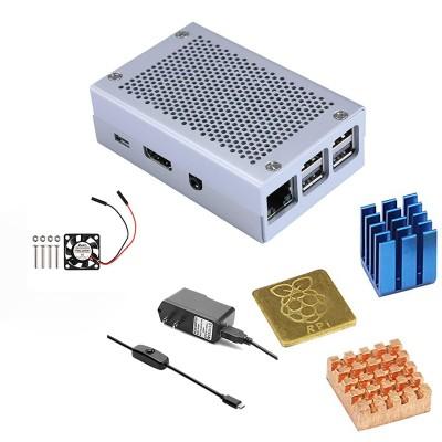 Raspberry Pi 3 Case Model B + Raspberry Pi Aluminum Case Silver Metal Case Cooling Fan With Screws Heat Sink +Enclosure Kit