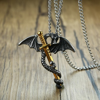 Pterosaur Gold Tone Sword Pendant Necklace for Men Stainless Steel Dragon Punk Game of Throne Vintage Male Jewelry 24 Chain
