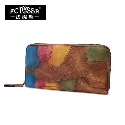 2019 Vintage Handmade Cowhide Color Block Zipper Wallet Genuine Leather Women Purse Day Clutch Wallet Original Design