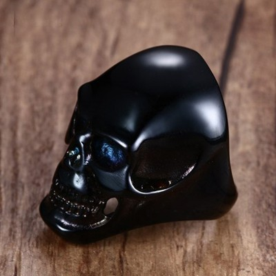 Mens Large Heavy Stainless Steel Black Skull Ring for Men Vintage Gothic Cool Punk Biker Halloween Jewellery