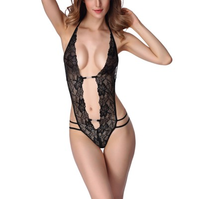 2019 Hot Sexy Women Ladies Deep V Lace Sheer Bodysuit Lingerie Nightwear Babydoll Sleepwear Underwear Nighty Dress robe de nuit