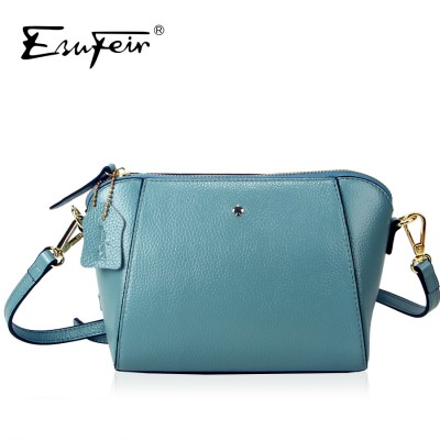 ESUFEIR Brand Embossed Genuine Leather Women Messenger Bag Fashion Solid Cow Leather Shoulder Bag Casual Small Bag Crossbody Bag